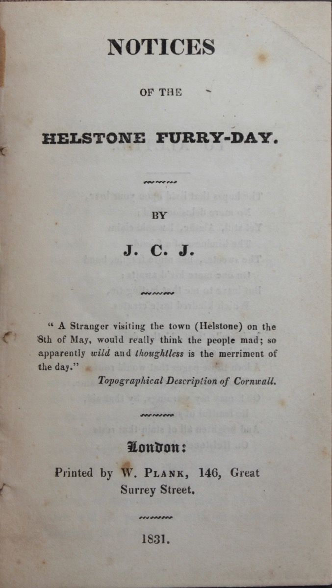 Image for Notices of the Helstone Furry-Day.