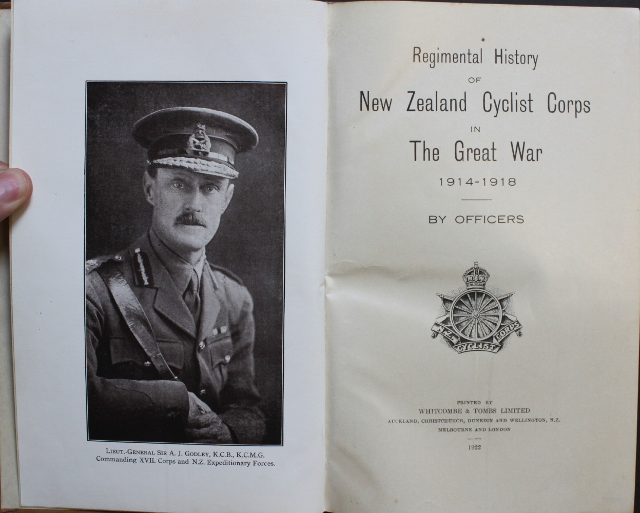 Image for Regimental History of New Zealand Cyclist Corps in the Great War 1914 - 1918, by Officers.