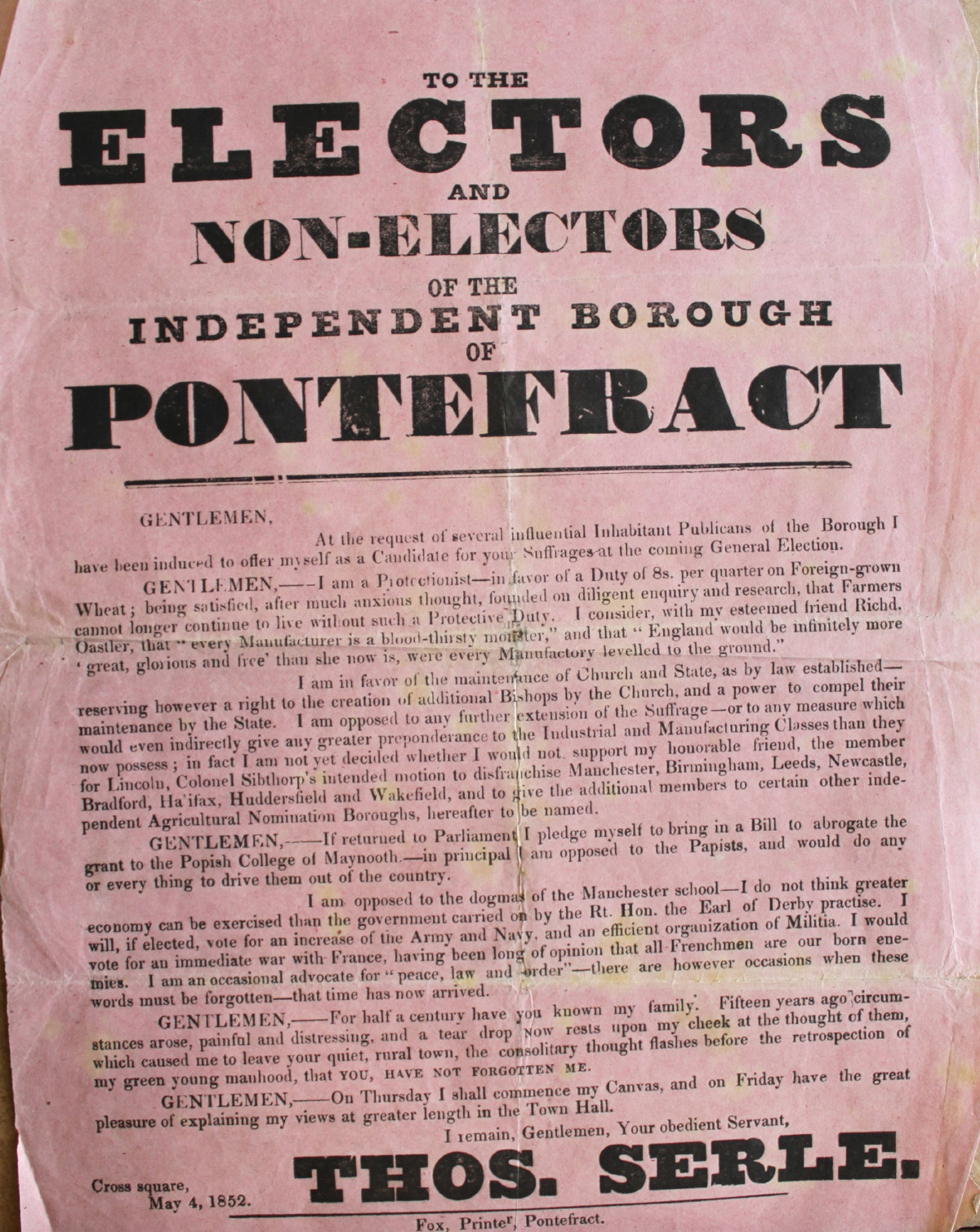 Image for To the Electors and Non-Electors of the Independent Borough of Pontefract by Thos Serle.