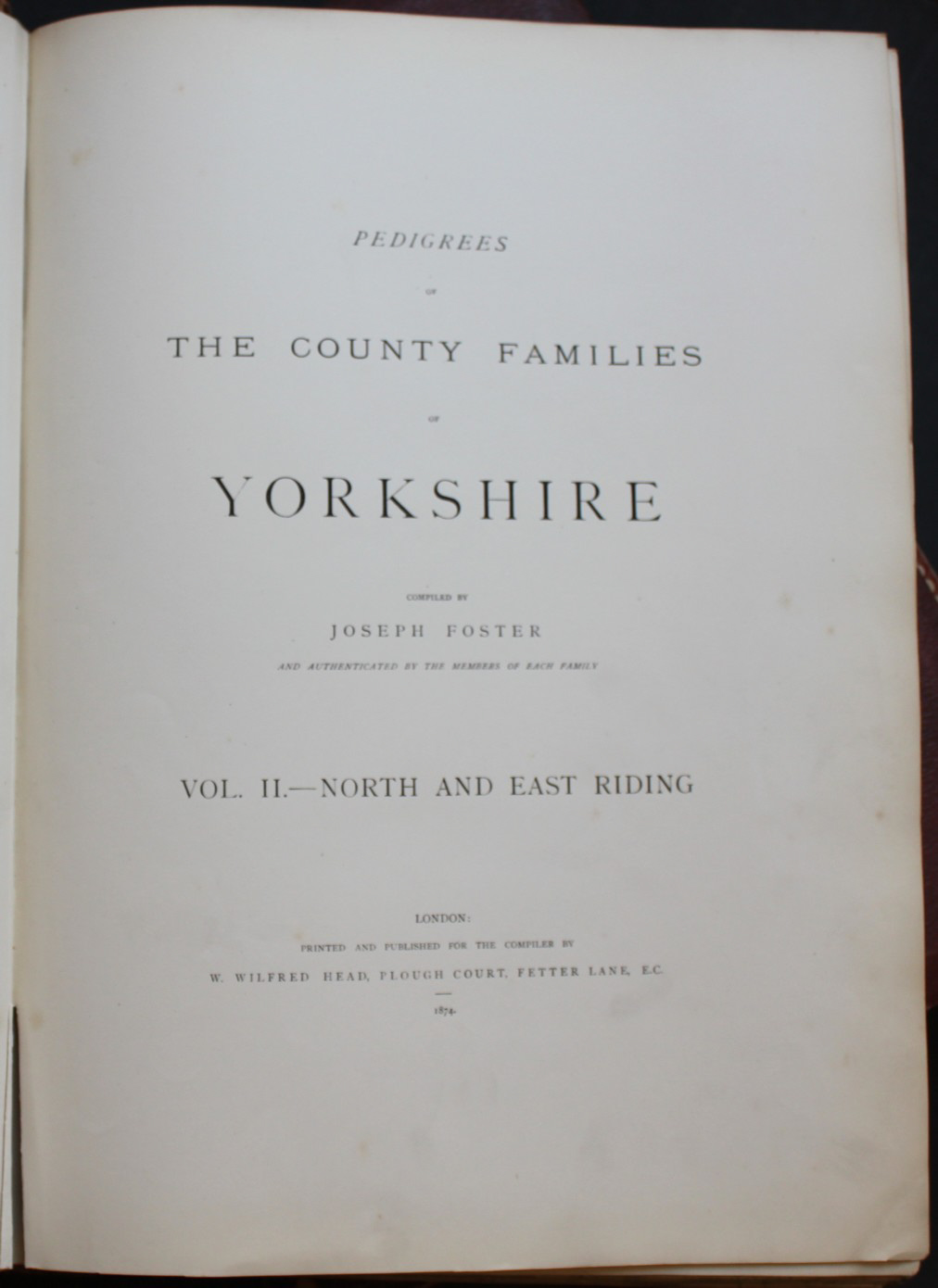 Image for Pedigrees of the County Families of Yorkshire.