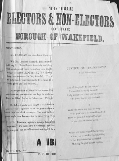 Image for A superb collection of 43 posters, handbills and election squibs relating to Parliamentary and Borough Elections for Wakefield from the nineteenth century.