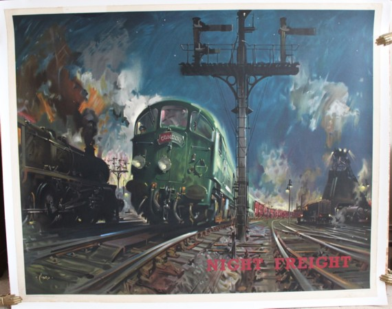 Image for Night Freight. ORIGINAL FULL SIZE BRITISH RAILWAYS POSTER FOR THE LONDON MIDLAND REGION.