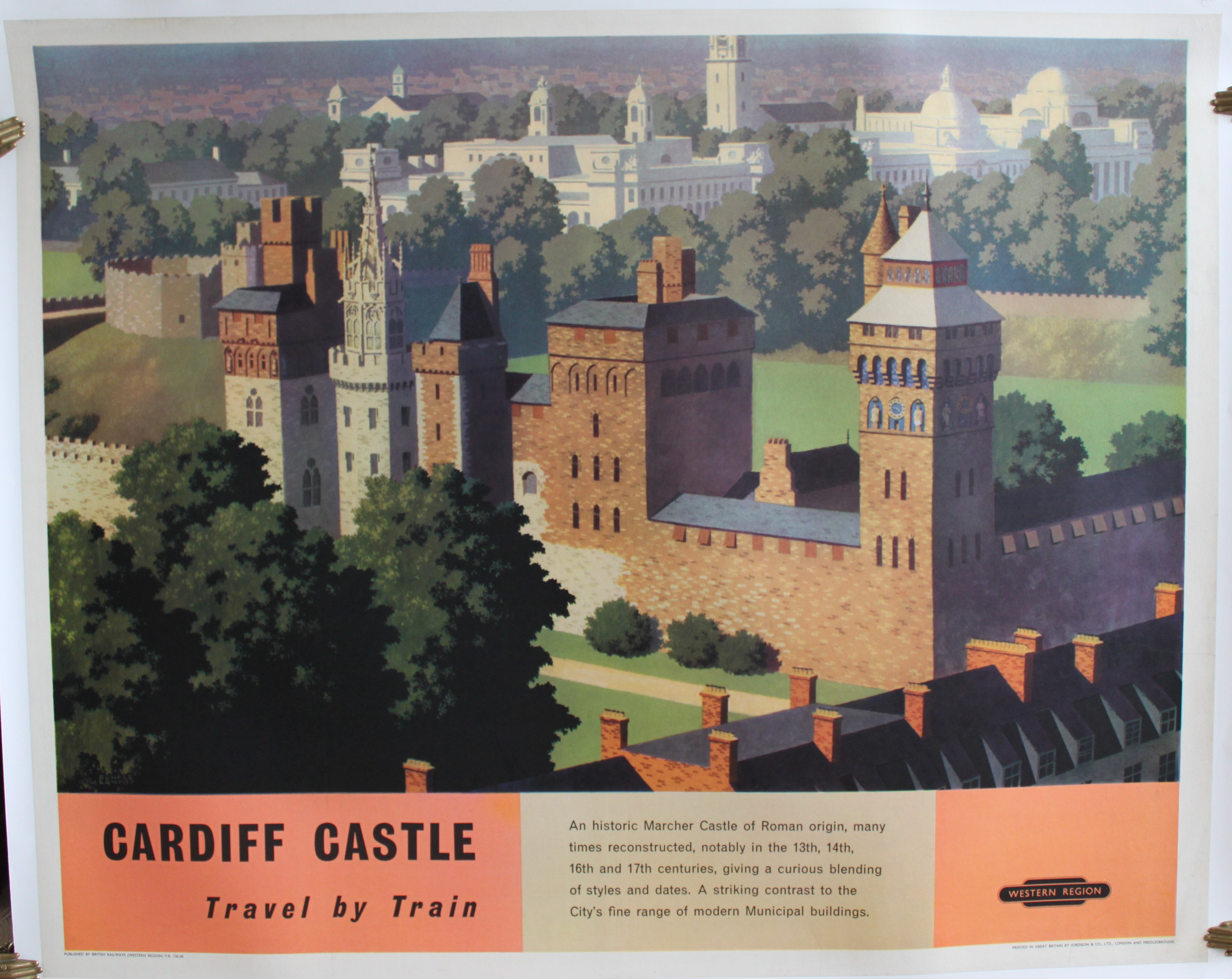 Image for Cardiff Castle; Travel by Train. ORIGINAL FULL SIZE BRITISH RAILWAYS POSTER.