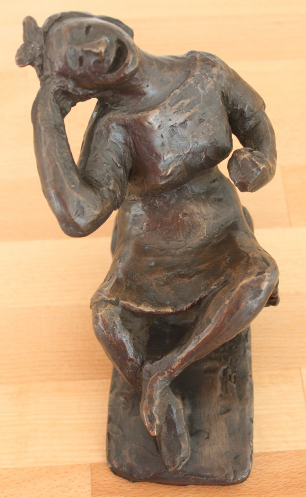Image for Bronze Figure: Seated Girl Laughing.