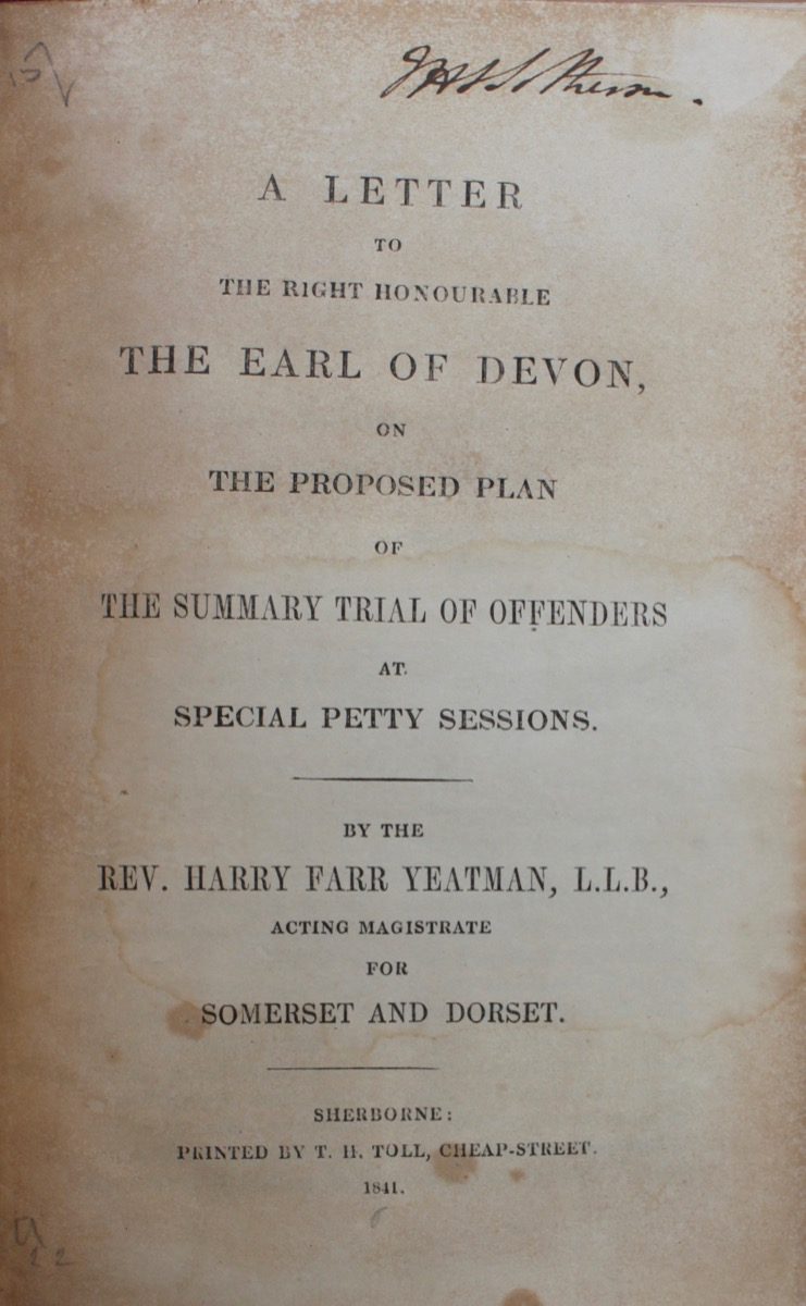 Image for A Letter to the Right Honourable the Earl of Devon, on the Proposed Plan of the Summary Trial of Offenders at Special Petty Sessions.