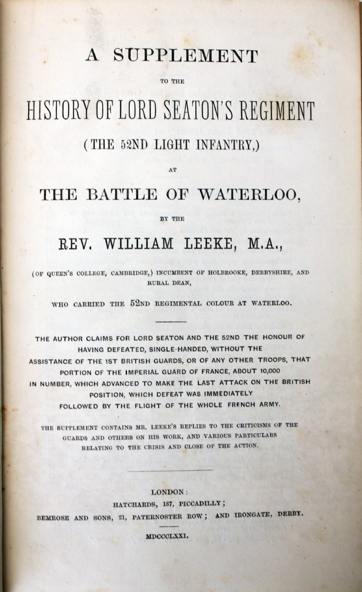 Image for A Supplement to the History of Lord Seaton's Regiment (The 52nd Light Infantry) at the Battle of Waterloo.
