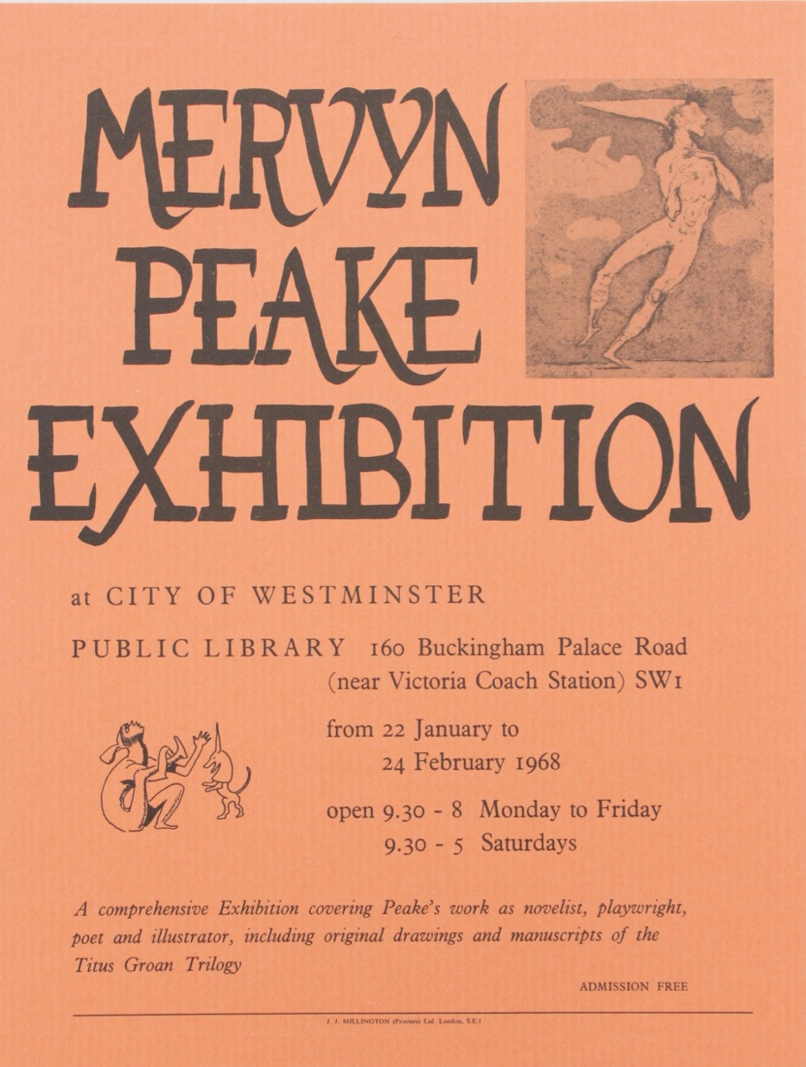 Image for Mervyn Peake Exhibition at City of Westminster Public Library.