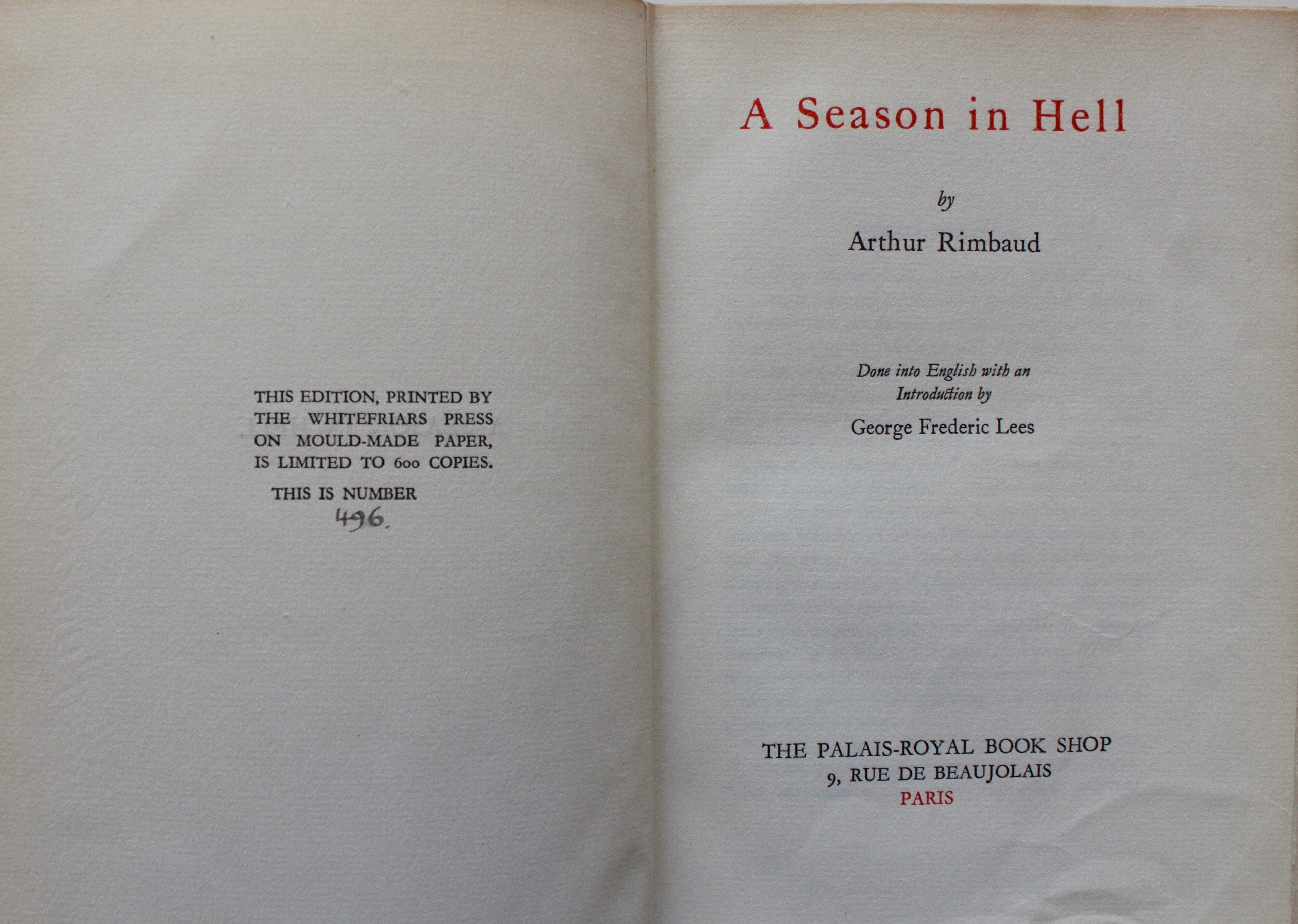 Image for A Season in Hell. Done into English with an Introduction by George Frederic Lees.