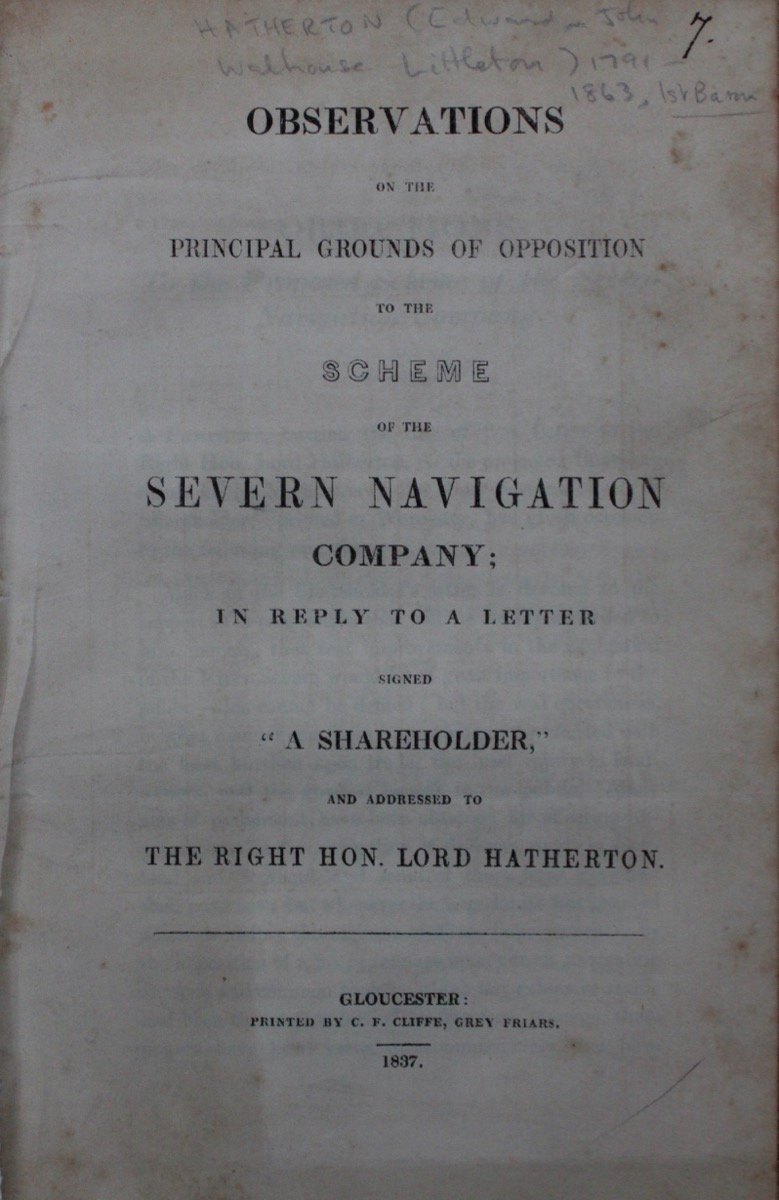 "Image for Observations on the Principal Grounds of Opposition to the Scheme of the Severn Navigation Company; in Reply to a Letter signed ""A Shareholder,"" and addressed to The Right Hon. Lord Hatherton."