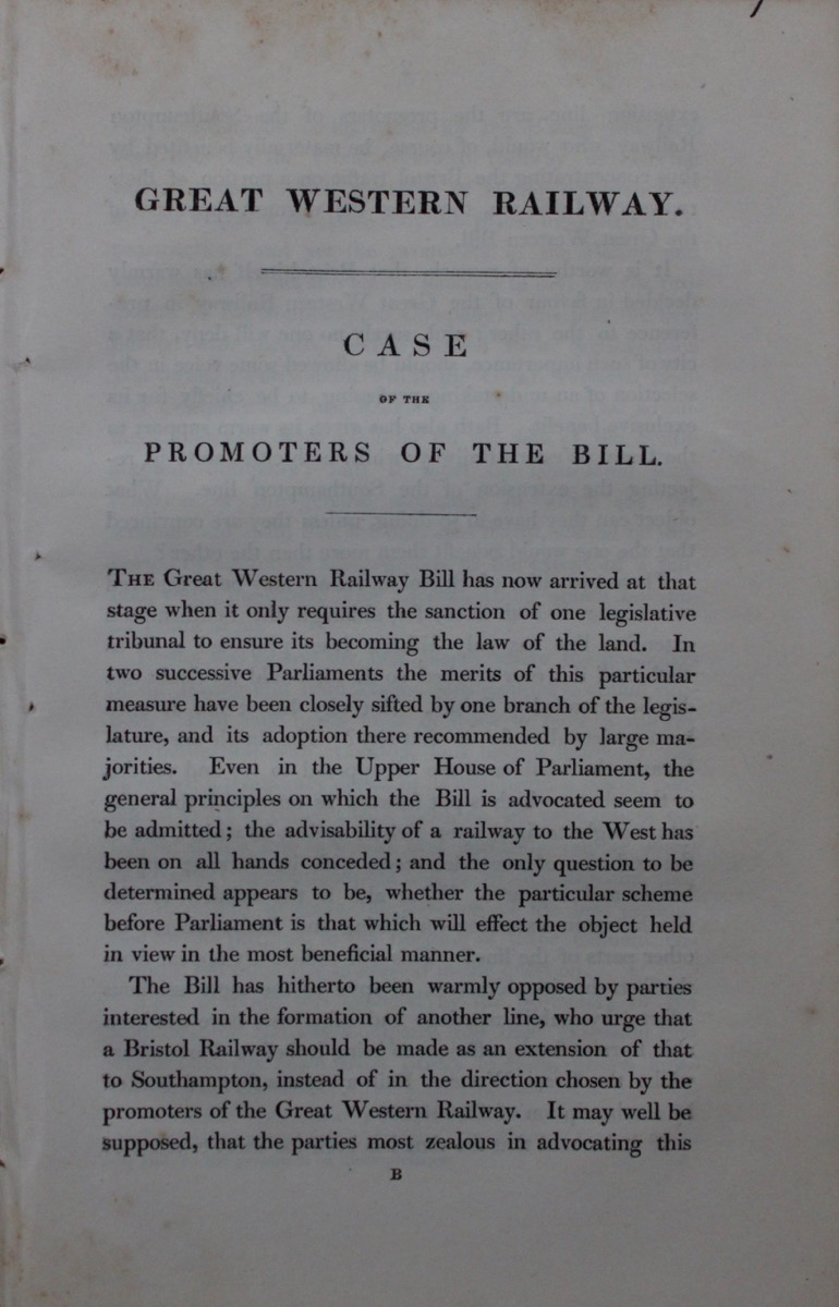 Image for Great Western Railway. Case of the Promoters of the Bill [of 1835 against the Promoters of the London and Southampton Railway].