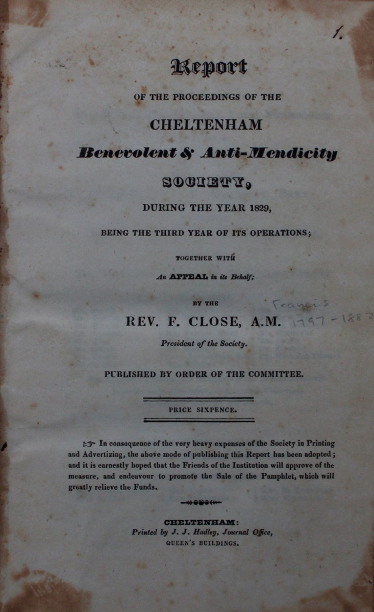Image for Report of the Proceedings of the Cheltenham Benevolent & Anti-Mendicity Society, During the Year 1829, Being the Third Year of Its Operations; Together with and Appeal on its Behalf.