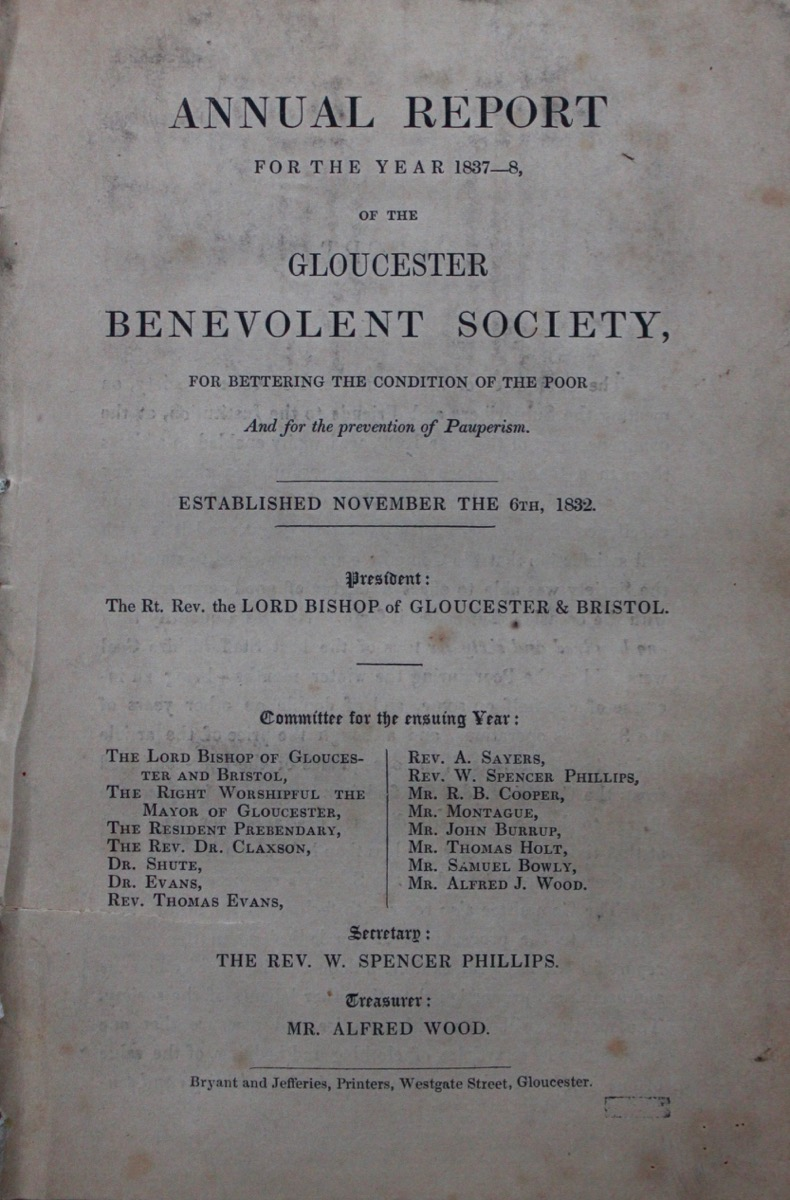 Image for Annual Report for the Year 1837-8, of the Gloucester Benevolent Society, for Bettering the Condition of the Poor and for the Prevention of Pauperism.