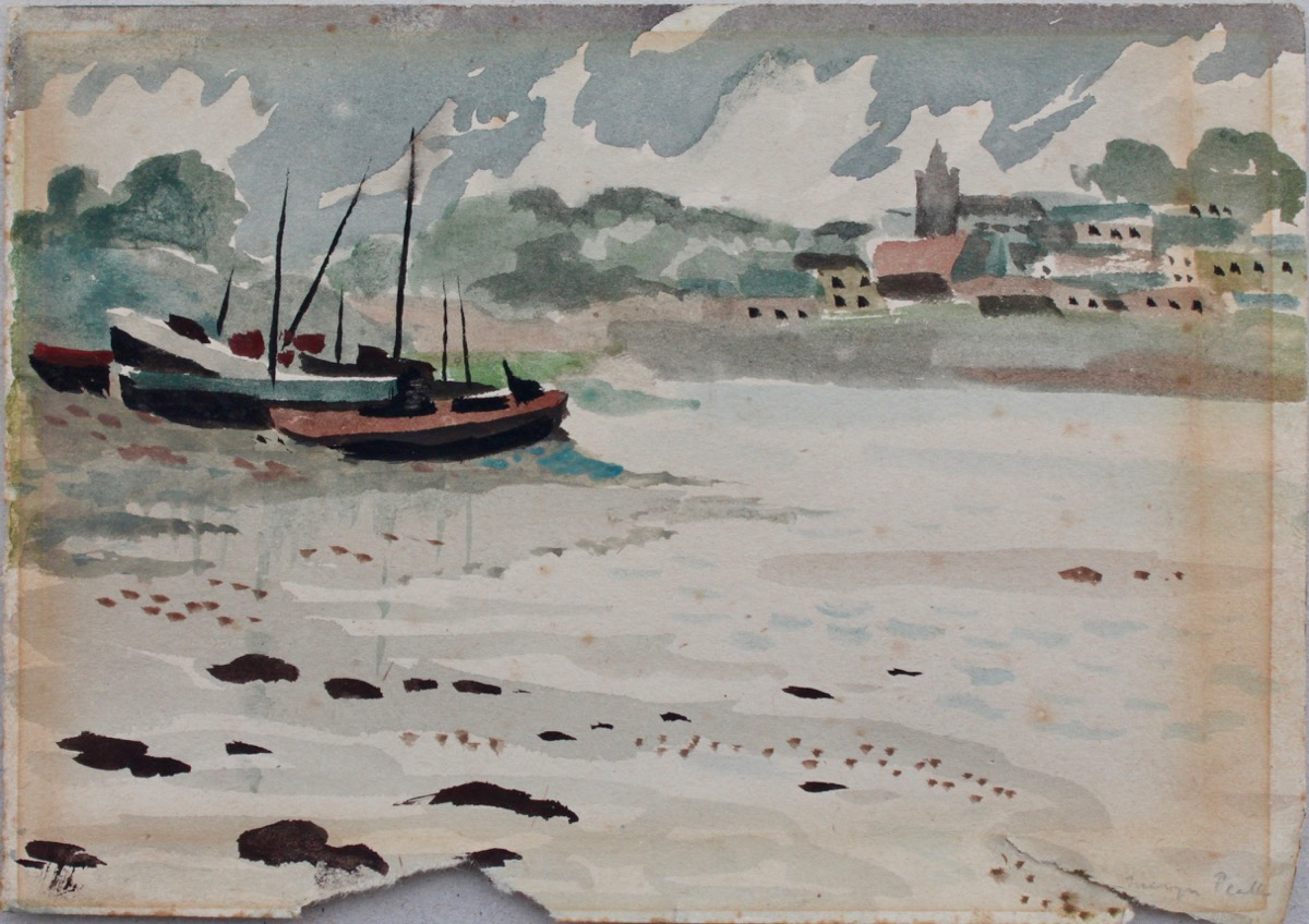 Image for Boats on the Estuary. [Probably the Sussex Coast] Original watercolour.