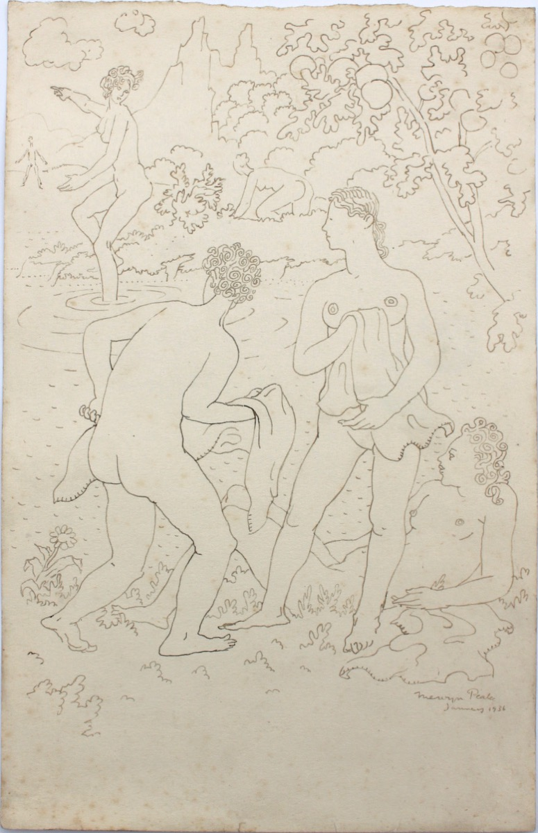 Image for The Bathers. Original drawing.