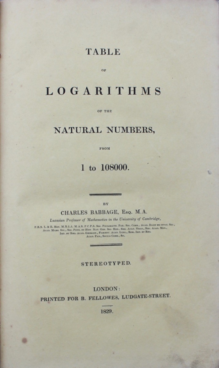 Image for Table of Logarithms of the Natural Numbers From 1 to 108000.