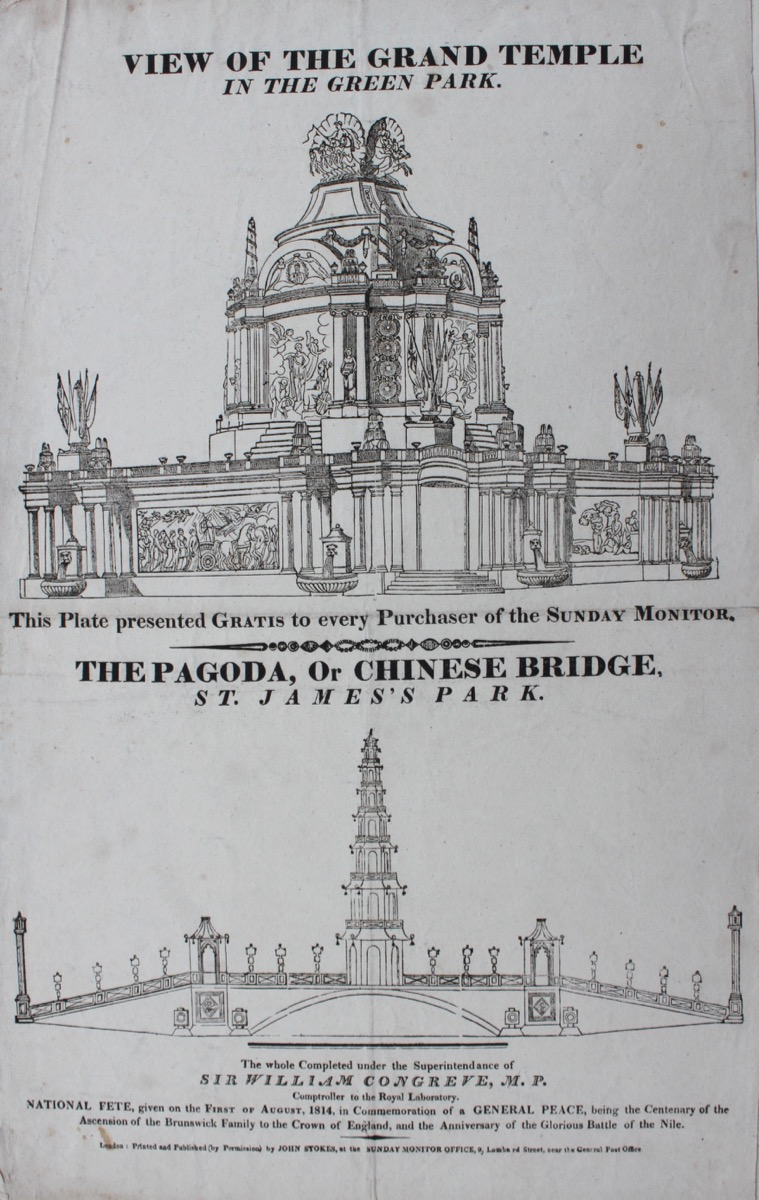 Image for View of the Grand Temple in Green Park and The Pagoda, or Chinese Bridge, St. James's Park. The whole completed under the Superintendance of Sir William Congreve M.P. Comptroller to the Royal Laboratory.