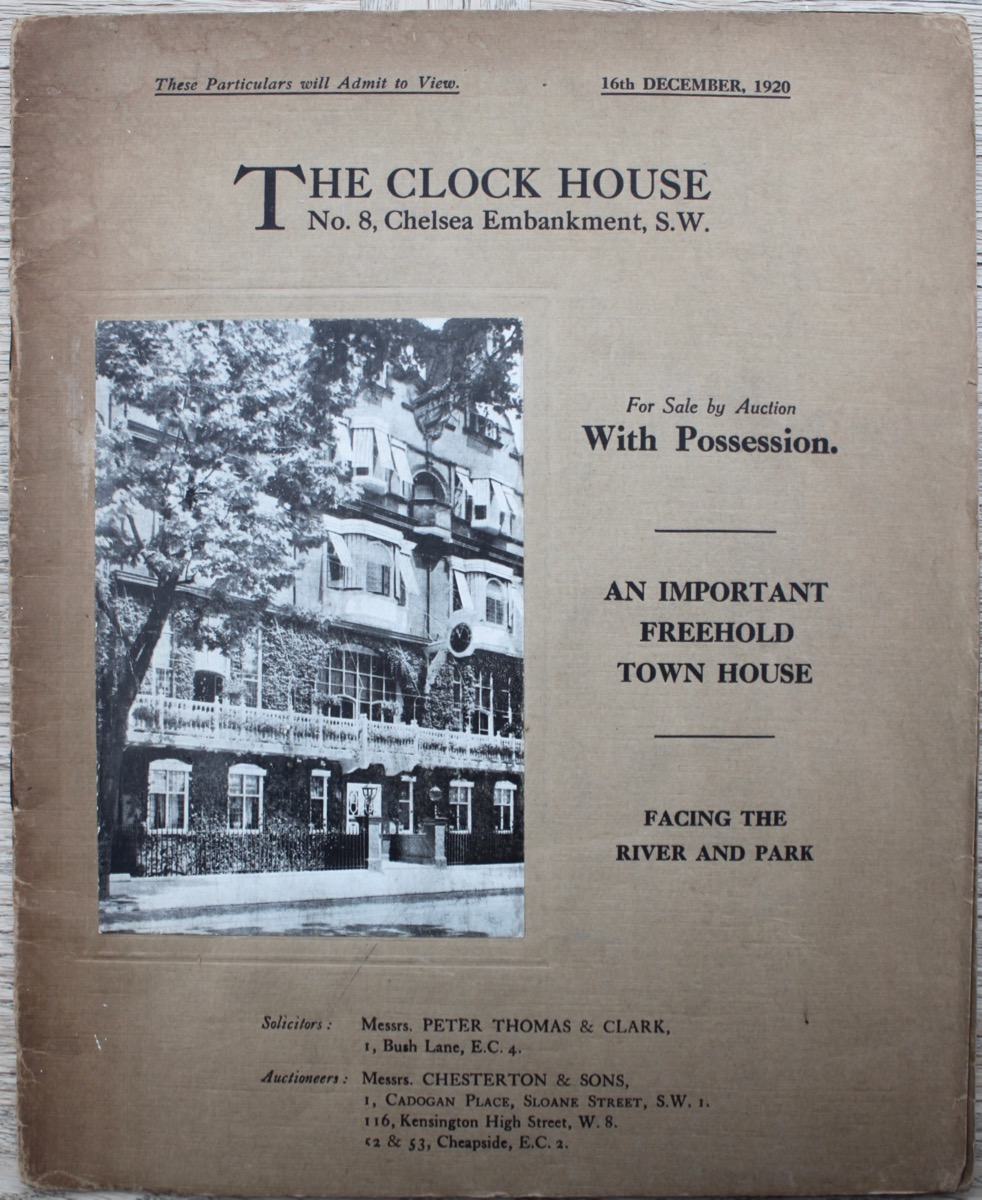 Image for The Clock House, No. 8, Chelsea Embankment. For Sale by Auction. An Important Freehold Town House.