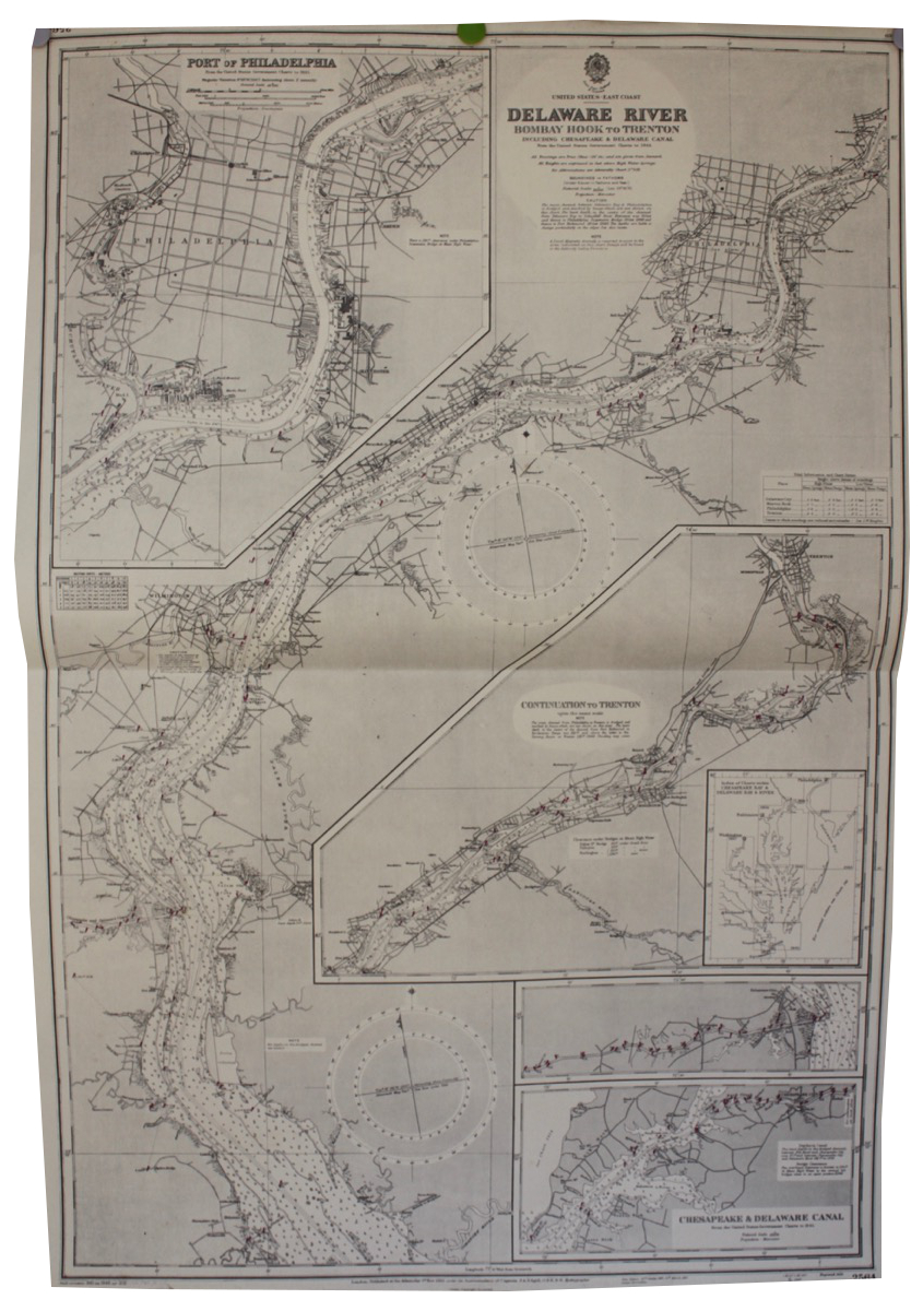 Image for Delaware River, Bombay Hook to Trenton including Chesapeake & Delaware Canal, from the United States Government Charts to 1945.