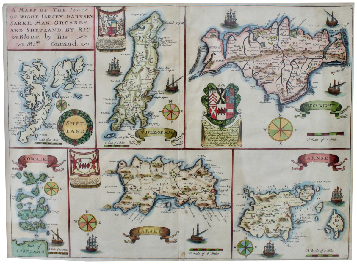 Image for A Mapp of the Isle's of Wight, Jarsey, Garnsey, Sarke, Man, Orcades, and Shetland.