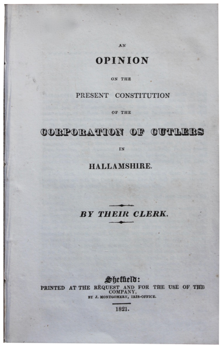 Image for An Opinion on the Present Constitution of the Corporation of Cutlers in Hallamshire.