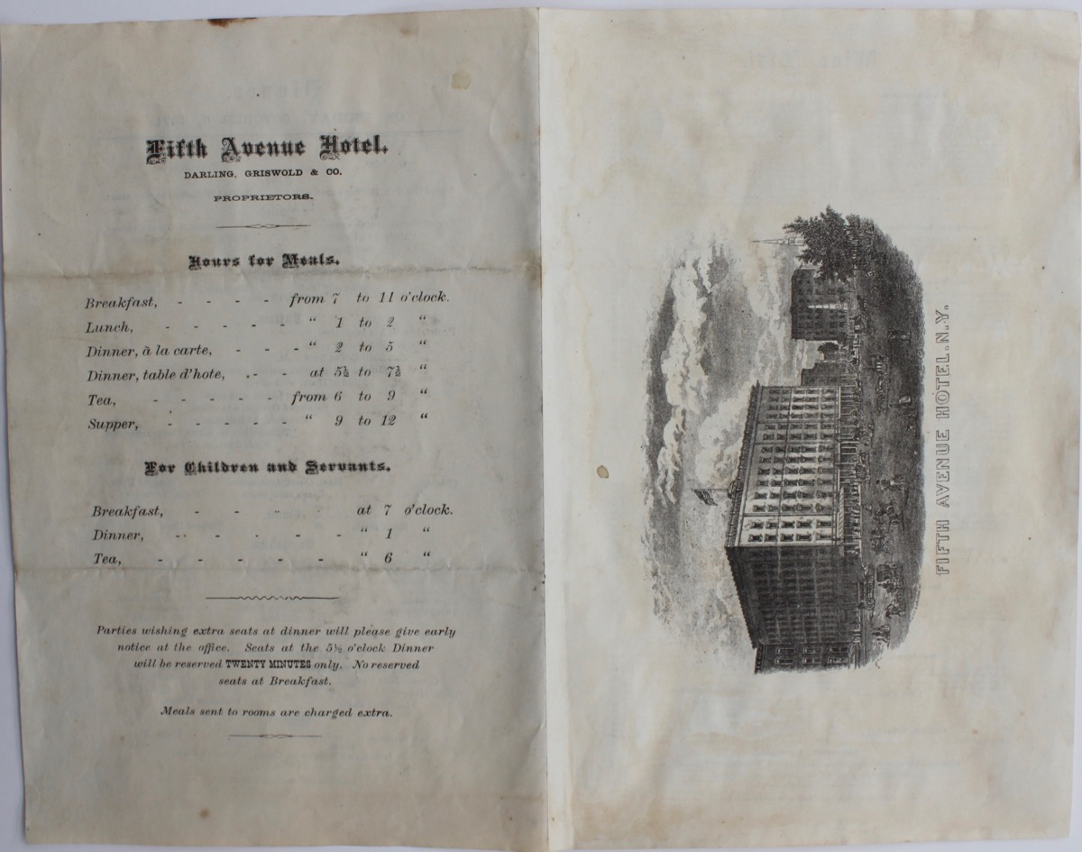Image for Fifth Avenue Hotel, New York. Menu and wine list.