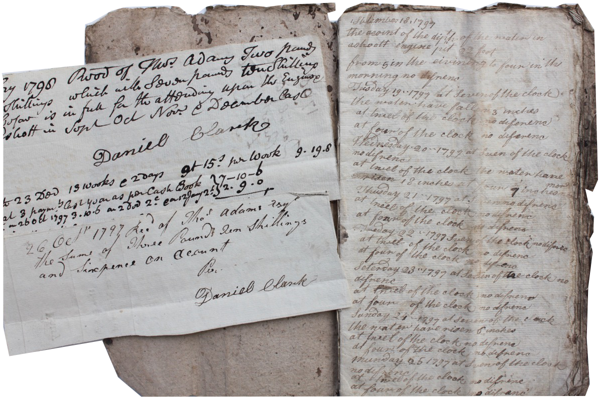 Image for Manuscript Account of the Depth of Water in the Engine Shed at Eshott, Northumberland between September 18, 1797 and 23 December 1797; together with two receipts made out to Thomas Adams.