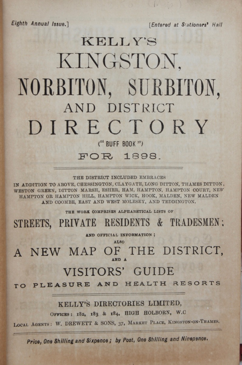 Image for Kelly's Kingston, Norbiton, Surbiton and District Directory (Buff Book) for 1898.