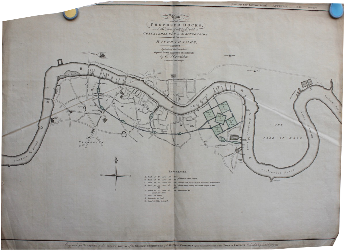 Image for Plan of the Proposed Docks and the Line of a Canal with a Collateral Cut on the Surrey Side of the River Thames.