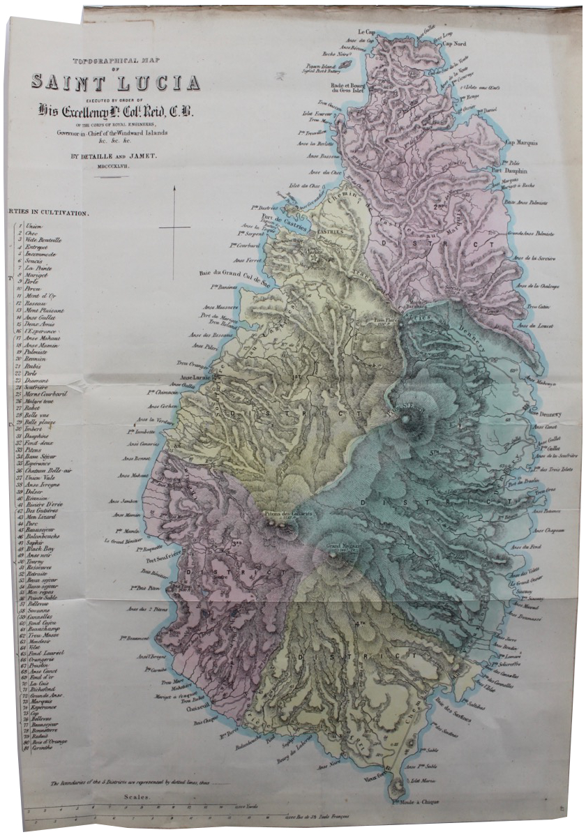 Image for Topographical Map of Saint Lucia executed by order of His Excellency Lt. Col. Reid of the Corps of Royal Engineers, Governor-in-Chief of the Windward Isles.