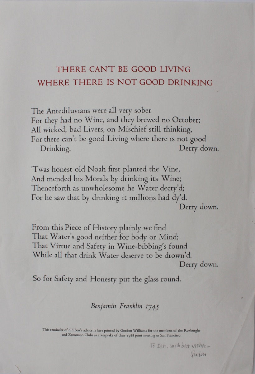Image for There Can't Be Good Living Where There is Not Good Drinking, by Benjamin Franklin 1745.