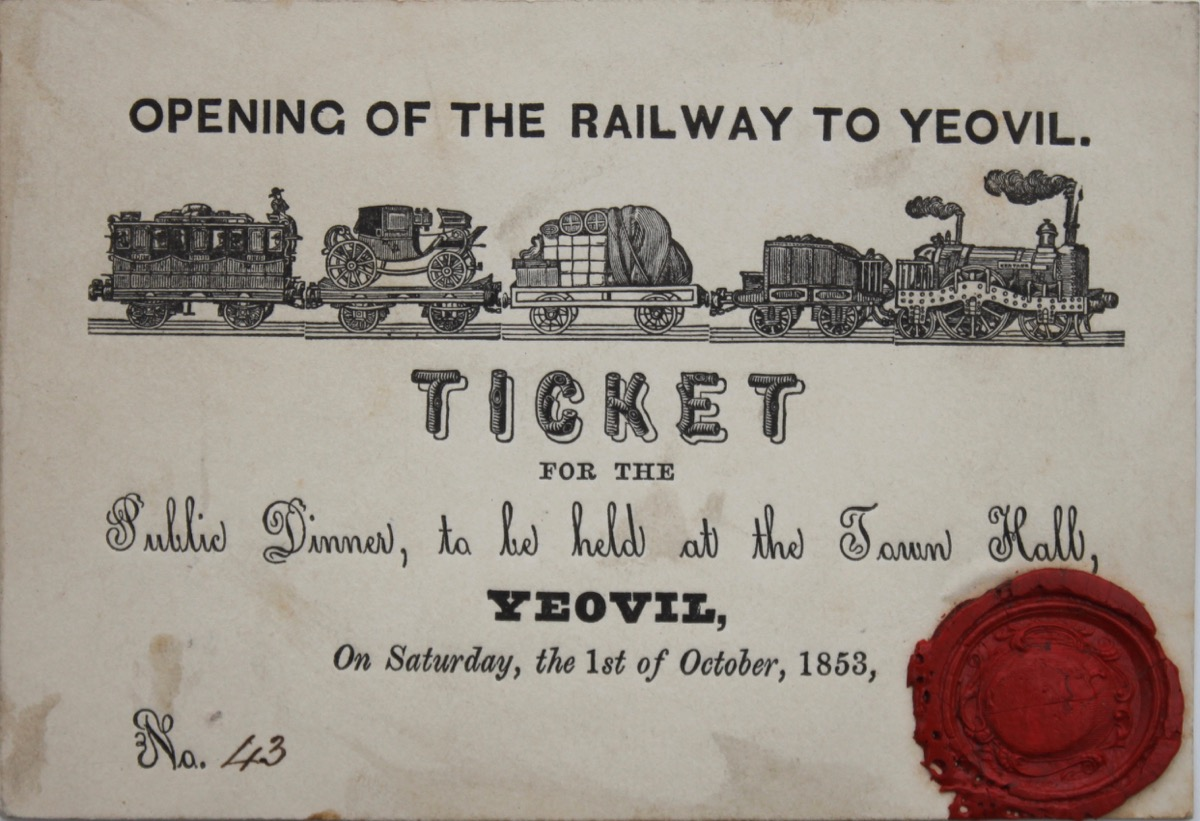 Image for Opening of the Railway to Yeovil. Ticket for the Public Dinner, to be held at the Town Hall, Yeovil, on Saturday, the 1st of October, 1853.