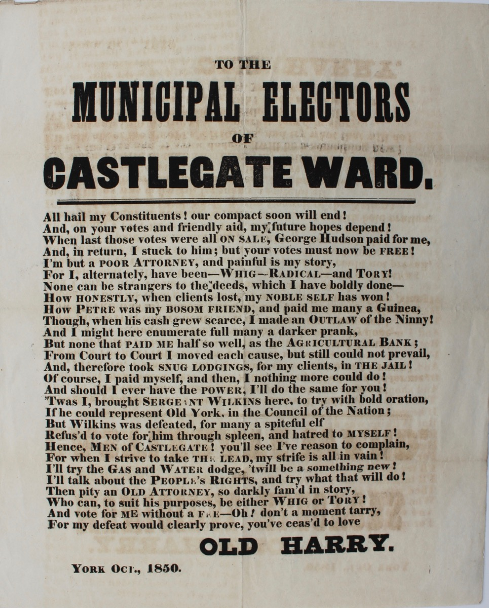 Image for To the Municipal Electors of Castlegate Ward. [York]
