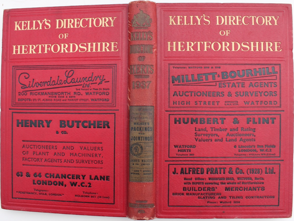 Image for Kelly's Directory of Hertfordshire with coloured map. 1937.