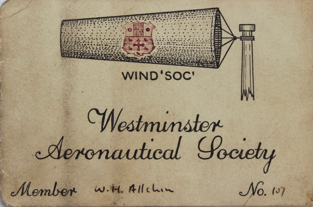 Image for Westminster Aeronautical Society Membership Card.